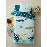 Childrens Duvet Cover + Pillowcase Set, FONDS MARINS blue light solid with design