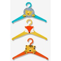 'Pack Of 3 Coat Hangers, Animals Orange Medium Solid