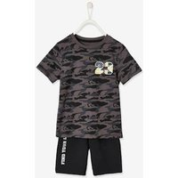 Sports Set: T-Shirt + Bermuda Shorts for Boys grey dark all over printed