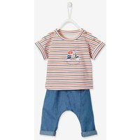 2-Piece T-Shirt and Trouser Outfit for Newborn Baby Boys orange bright solid