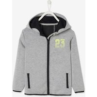 Sports Jacket with Zip for Boys grey light solid with design