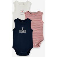 Pack of 3 Sleeveless Sailor-Style Bodysuits for Newborn Babies blue dark two color/multicol