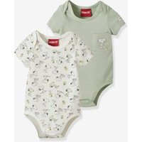 Pack of 2 Short-Sleeved Bodysuits in Organic Cotton*, Snoopy by Peanuts® light green
