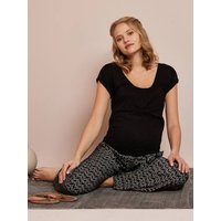 Printed Fluid Trousers for Maternity black dark all over printed