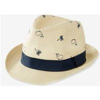 Straw Hat with Stylish Motifs, for Baby Boys beige light all over printed