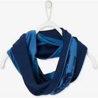 Reversible Snood with Flag Motif or Plain, for Boys blue dark solid