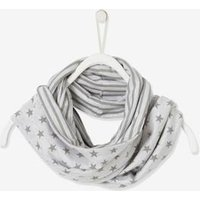 Reversible Snood for Boys, with Striped or Star Motifs grey light mixed color