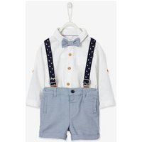 Shirt, Bow Tie and Shorts with Braces Outfit for Baby Boys white light solid