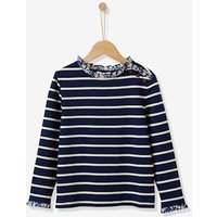 Girl's T-shirt with Liberty floral collar blue stripes.