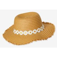Daisy Straw Hat for Girls beige light solid with design