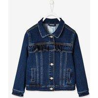Denim Jacket with Ruffle, for Girls blue dark solid