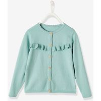 Frilly Cardigan for Girls blue light solid