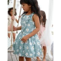 Occasion Wear Dress with Printed Flowers for Girls, in Sateen green medium all over printed