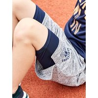 Sports Set: T-Shirt + 2-in-1 Effect Bermuda Shorts for Boys blue dark solid with design