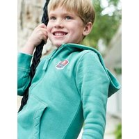 Zipped Jacket with Hood, Graphic Motif on the Back, for Boys green light solid with design