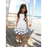 Occasion Wear Dress for Girls, Dots and Embroidered Tulle Flowers white light all over printed