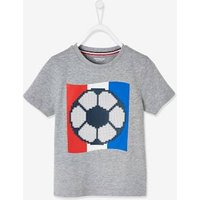 Football T-Shirt with Ball in Relief, for Boys grey medium mixed color.