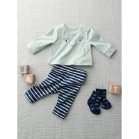 Jacket and Striped Leggings Outfit for Newborns blue dark solid with design