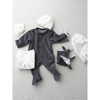 5-Piece Newborn Kit and Striped Bag, Cat dark blue