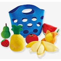 Fruit Basket in Fabric, HAPE blue medium solid with design.
