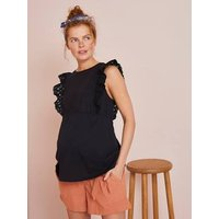 Maternity Sleeveless Top with Broderie Anglaise black dark solid with design