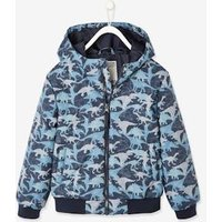 Hooded Jacket with Camouflage or Dino Print, for Boys dark blue/print