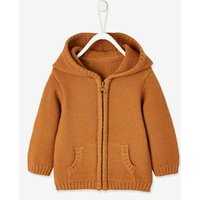 Knitted Cardigan with Zip for Baby Boys brown medium solid