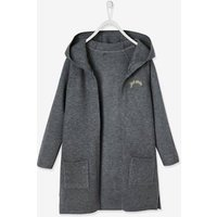 Long Cardigan with Hood for Girls grey dark mixed color
