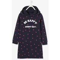 Fleece Dress with Hood and Fancy Details, for Girls blue dark all over printed