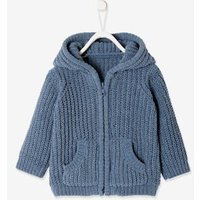 Hooded Cable Knit Cardigan for Baby Boys blue dark solid