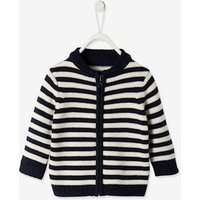 Navy Cardigan with Zip for Baby Boys grey light striped