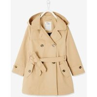 Trench Coat with Printed Lining in Hood for Girls beige light solid