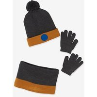 Beanie + Snood + Gloves Set for Boys blue dark two color/multicol