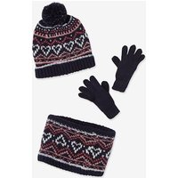 Jacquard Beanie + Snood + Gloves, Polar Fleece Lining, for Girls blue dark all over printed