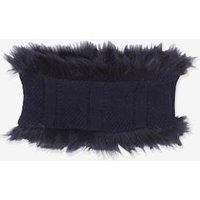 Cable Knit Snood with Faux Fur Trim, for Girls blue dark solid