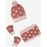Knitted Beanie + Snood + Gloves, Lined in Polar Fleece, for Girls pink dark all over printed