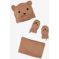 3-Piece Little Bear Set for Babies: Beanie, Mittens and Snood brown light solid with design