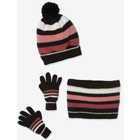 Colourblock Beanie + Snood + Gloves, Polar Fleece Lining, for Girls grey dark striped