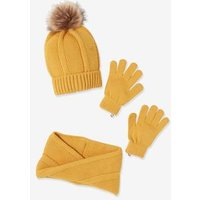 Knitted Beanie + Crossover Snood + Gloves, for Girls yellow medium solid