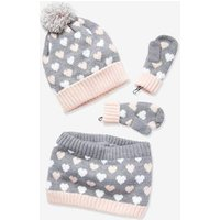 Beanie + Snood + Gloves Set for Girls blue dark all over printed