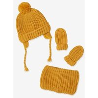 3-Piece Set for Baby Boys: Beanie, Mittens and Snood yellow dark solid
