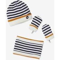 3-Piece Set for Baby Boys: Beanie, Mittens and Snood, Striped blue dark striped