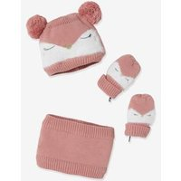 3-Piece 'Owl' Set for Baby Girls: Beanie, Mittens and Snood pink medium solid with desig