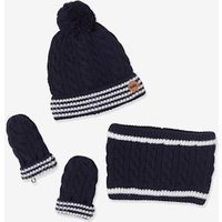 3-Piece Set for Baby Boys: Beanie, Mittens and Snood blue dark solid with design