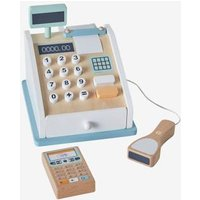 Cash Register & Accessories, in Wood beige medium solid with decor.