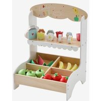 Market/Florist Stall in Wood beige medium solid with decor.