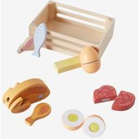 Wooden Food Box beige medium solid with decor.