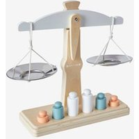 Scales with Weights beige medium solid with decor.