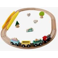 Small Wooden Railway beige medium solid with decor.