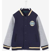 College-Style Fleece Jacket with Polar Fleece Lining and Motif on Back for Boys blue dark solid with design